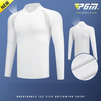 PGM męskie Golf odzież koszula ochrona przed słońcem lodu rajstopy z długim rękawem T Shirt anty-uv szkolenia bielizna koszule Golf odzież sportowa tanie i dobre opinie Pełna COTTON SILK Pasuje prawda na wymiar weź swój normalny rozmiar Anty-pilling Oddychająca Szybkie suche CC0084 Suknem