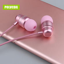 POLVCDG Pink Music In-ear Mic 3.5mm HiFi Sports W1 Earbuds With Wheat Line Control Sub Woofer Earphones