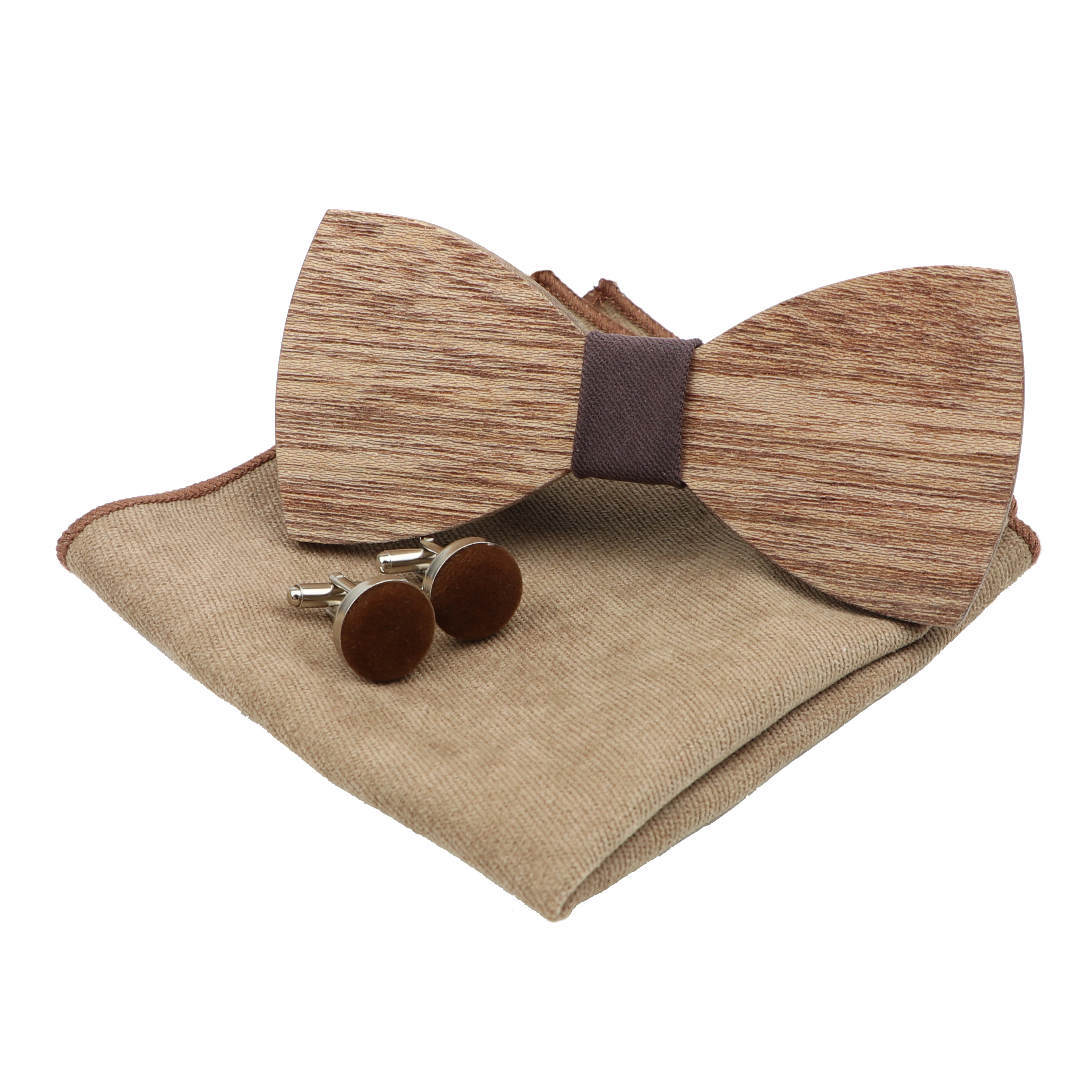 Handmade 100% Wooden Bow Tie Set Soft Microsuede Pocket Square Cufflinks For Men Wedding Party Bowtie Butterfly Hanky 3 Pcs Lots