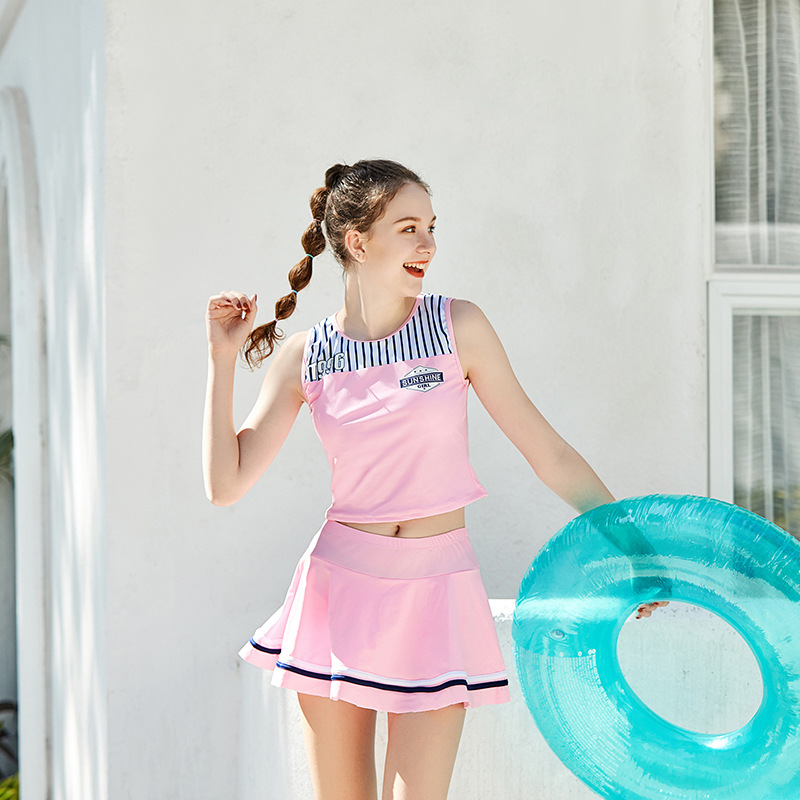 2019 New Style Miss Sunshine KID'S Swimwear Fashion Stripes Assembling Boxers Skirt Big Kid Women's Two-piece Swimsuits