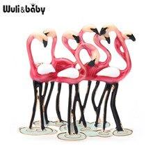 Wuli & baby Emaille Flamingo Vögel Broschen Für Frauen Neue Ankunft Rot Lila Vögel Tier Büro Party Casual Brosche Pins geschenke
