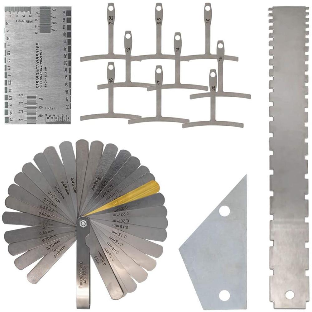 Набор измерительных инструментов для гитары Luthier, прибор для измерения высоты нижнего радиуса гитары, со стальным щупом, 13 шт.