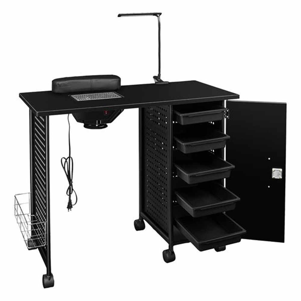 Manicure Nail Table Station Steel Frame Beauty Salon Equipment Drawer with LED Lamp Black with adjustable gooseneck