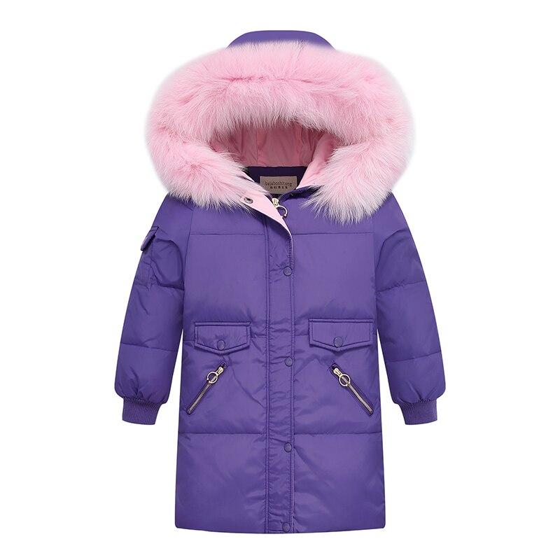 Filles vestes d'hiver 90% duvet de canard 2019 mode enfants Super chaud Long survêtement pour fille 6-14 Y Parkas manteau-30 degrés russie
