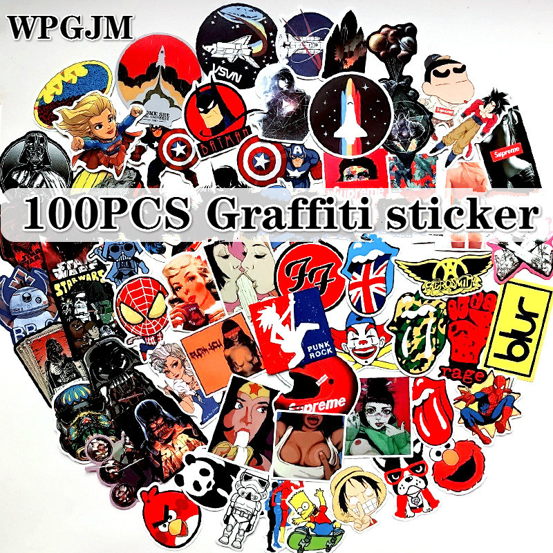 100 PCS Hybrid Stickers for Laptop Skateboard Luggage Car Styling Bike The Bathroom Graffiti Guitar Diary Waterproof Stickers in Stickers from Toys Hobbies