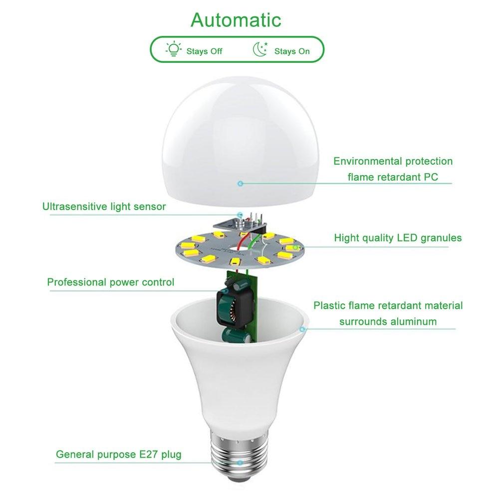 9 w e27 sensor de luz inteligente lâmpada led 6000 k com interruptor automático sensor de detecção de fotosensor embutido para interior ao ar livre - 3