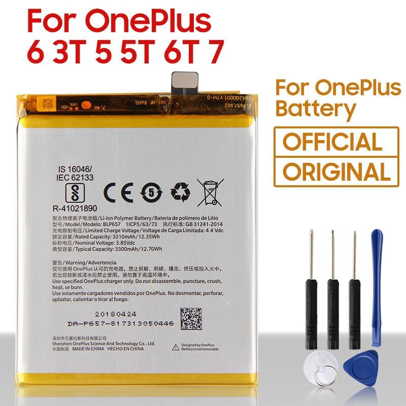 Оригинальная замена Батарея для OnePlus на возраст 1, 2, 3, 5, 5, 6 комплектов/партия, размер 6T 7 7 Pro 7T, 7T, Pro BLP637 BLP685 BLP699 BLP743 BLP745 телефон Батарея
