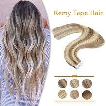 Zuria fita reta em extensões de cabelo humano cola no cabelo balayage cor invisível sem emenda 100% natural real remy do cabelo humano