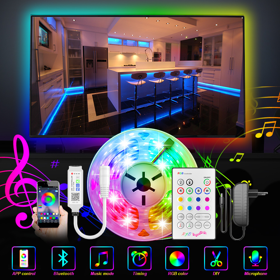 Bluetooth LED Strip Lights RGB 5050 SMD 2835 led ribbon Flexible LED Light 5M 10M Tape Diode DC 12V Power   Remote Controller