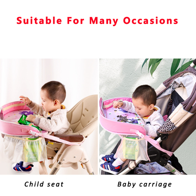 Waterproof Baby Table Car Seat Tray Mutifunctional Kids Toy Food Storage Seat Stroller Holder Portable Car Seat Table Desk