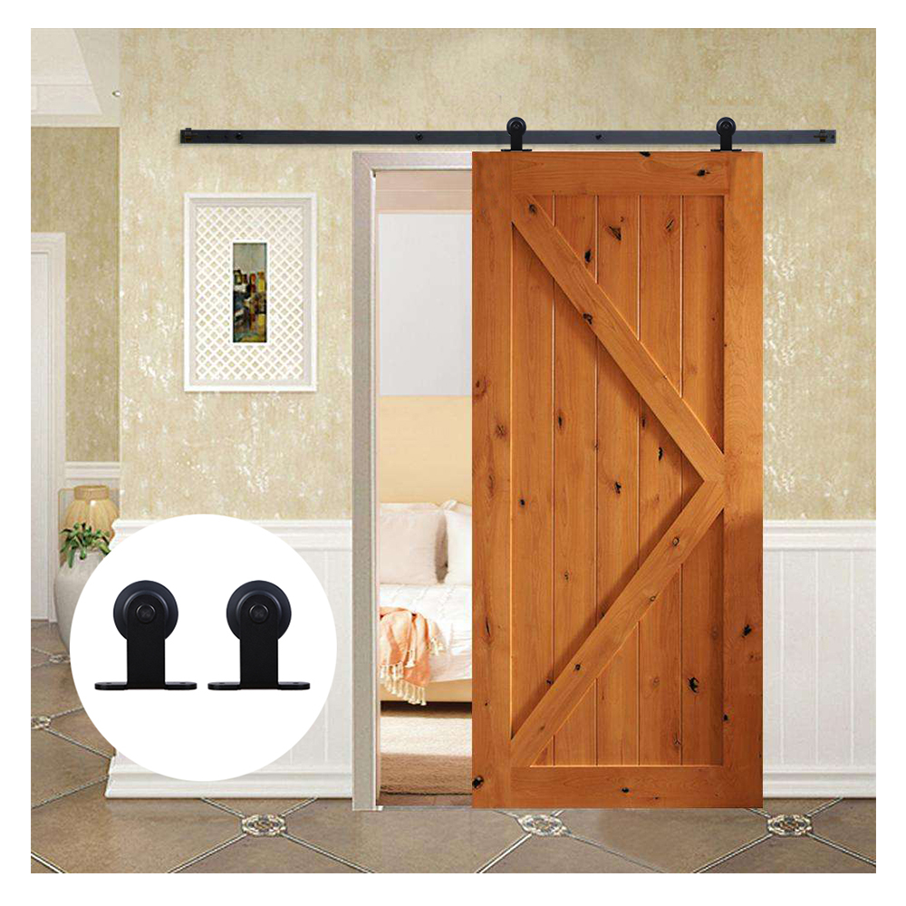 121CM/183CM/200CM Sliding Barn Door Hardware Kit Black Steel T Shaped Roller Track Hardware For Single Door