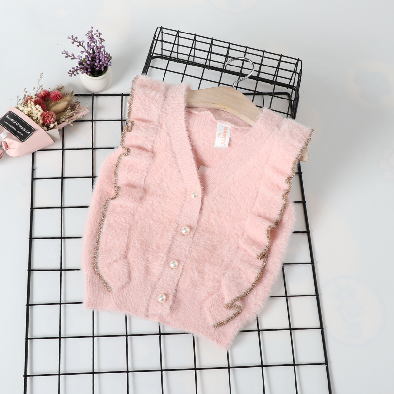 Girls Waterproof Mink Cashmere Sweater Vest 2019 Autumn And Winter New Products Knitted Cardigan Children Knitted Vest Fashion