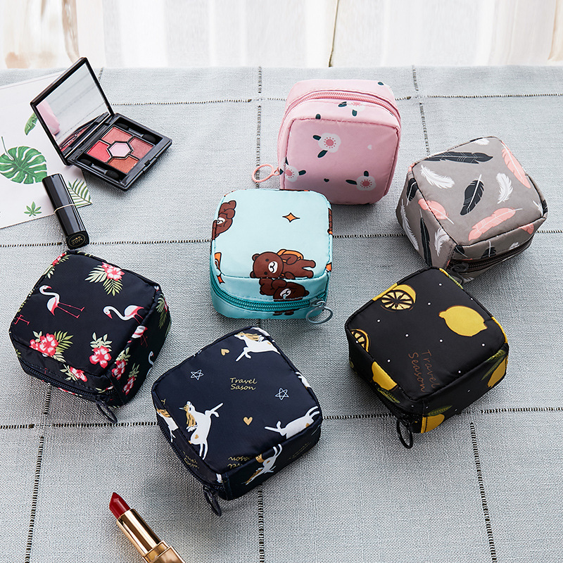 Tampon Storage Bag Sanitary Pad Pouch Women Napkin Coin Cosmetic Bags Organizer Ladies Makeup Bag Girls Tampon Holder Organizer