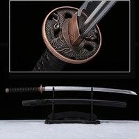 مصنوعة يدويا كاتانا التنين الأسود tsuba شحذ السيف الحقيقي الساموراي 1045 الكربون الصلب التنين الحرس
