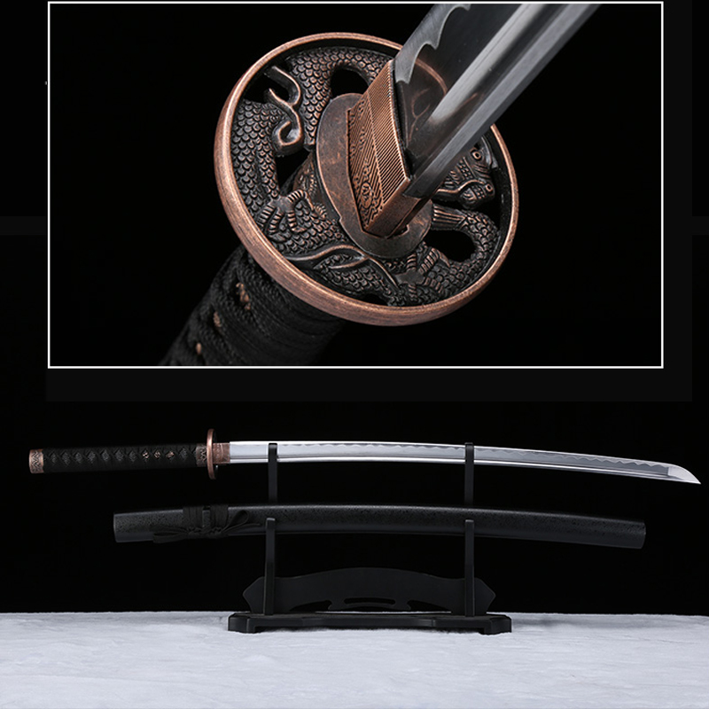 Handmade Japanese Katana Black Dragon Tsuba Sharpened Real Sword Samurai 1045carbon Steel Dragon Guard