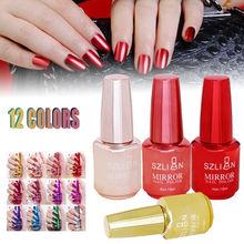 18ml Metallic Mirror Nail Polish Purple Red Green Gray Soak Off UV Gel Glue Manicure Art Varnish Tool nagellak