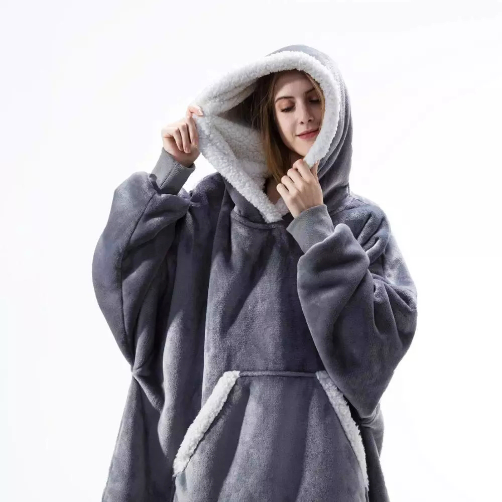 Oversize Hoodie Sofa Warm TV Blankets with Pocket Outdoor Hiking Hooded Sweatshirt Blanket-1