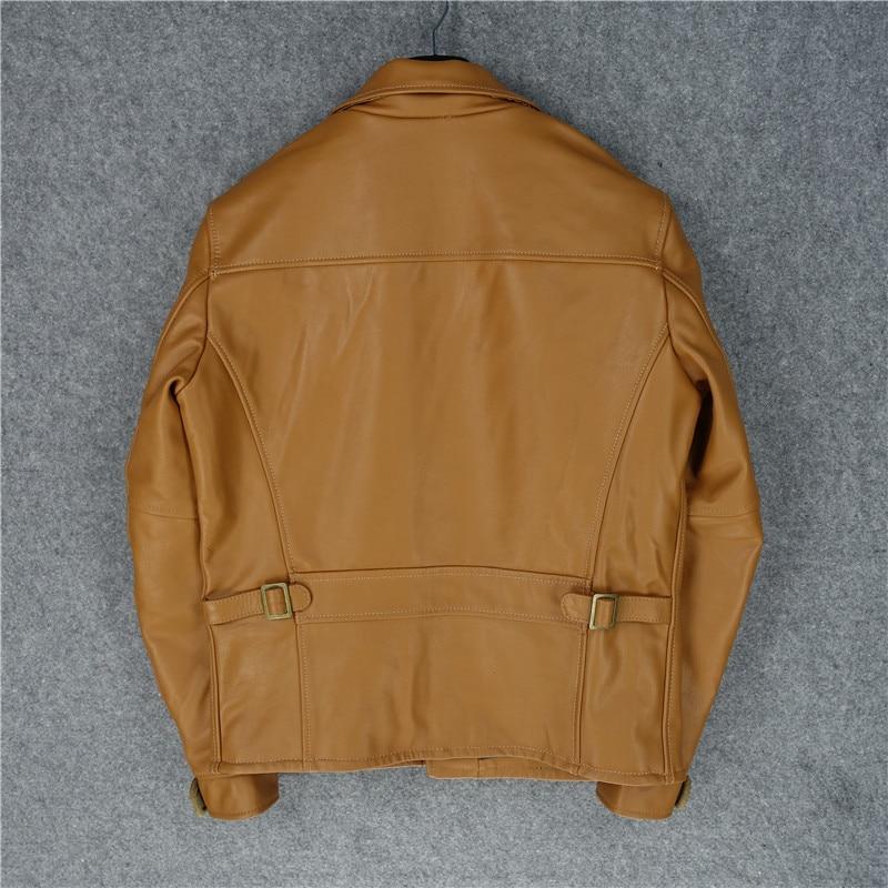 Free Shipping.Super Clearance Sales.100% Genuine Leather Jacket.man Slim Motor Bike Jacket.cool Cowhide Coat.quality.