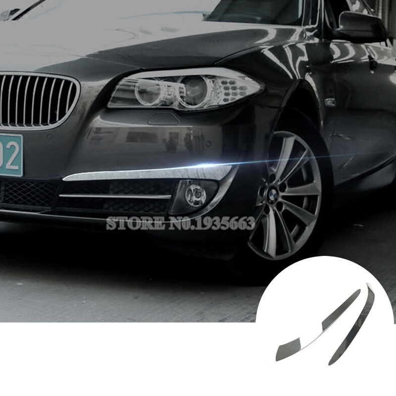 For <font><b>BMW</b></font> 5 Series <font><b>GT</b></font> <font><b>F07</b></font> Exterior Front <font><b>Bumper</b></font> Fog Light Eyelid Cover 2010-2013 2pcs image