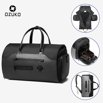 OZUKO Multifunction Suit Storage Travel Bag Men Waterproof Luggage Handbag Large Capacity Male Travel Duffle Bag with Shoe Pouch