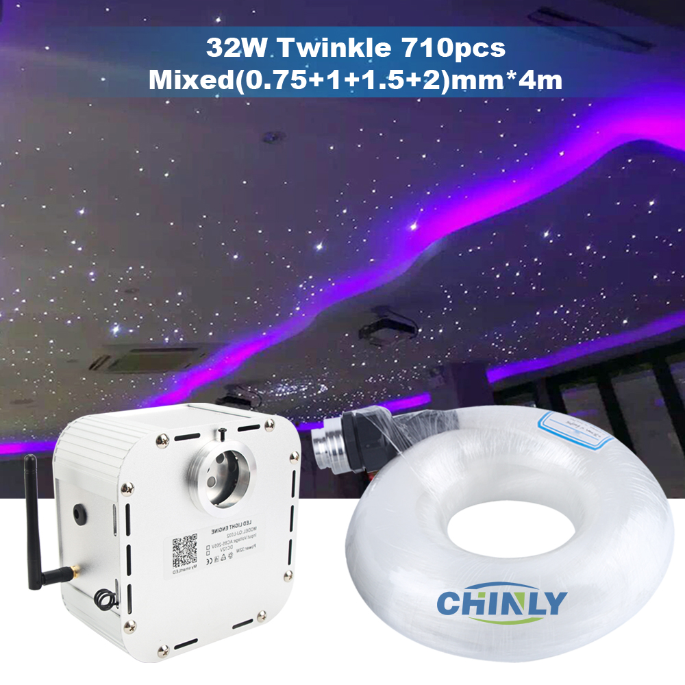 Twinkle 32W Bluetooth Control Remote Fiber Optic Light Starry Sky Effect Ceiling Kit 4m Mixed 710pcs Optical Fiber Cable
