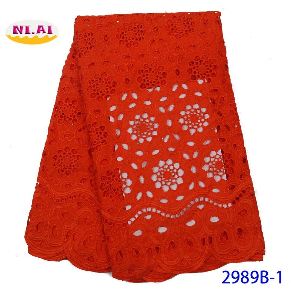 NIAI rouge africain sec dentelle tissu 2020 haute qualité broderie nigérian suisse Voile dentelle coton tissus pour les femmes robe XY2989B-1