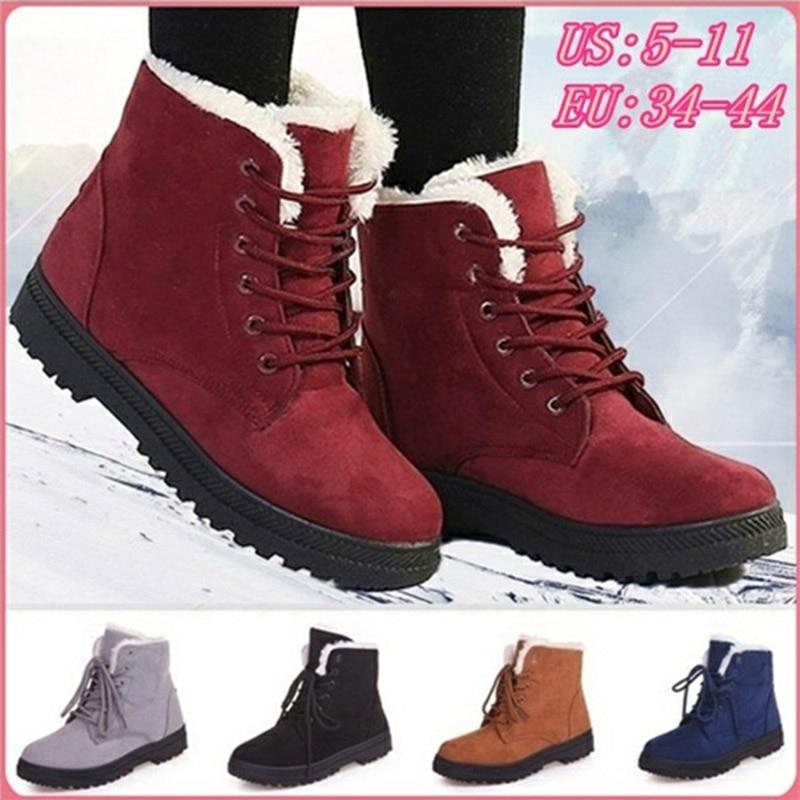 Женские ботинки, зимние Ботинки на каблуке, теплые ботинки с плюшевой подкладкой, большие размеры 44