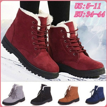 цена Women Boots Plus Size 44 Snow Boot For Women Winter Shoes Heels Winter Boots Ankle Botas Mujer Warm Plush Insole Shoes Woman онлайн в 2017 году