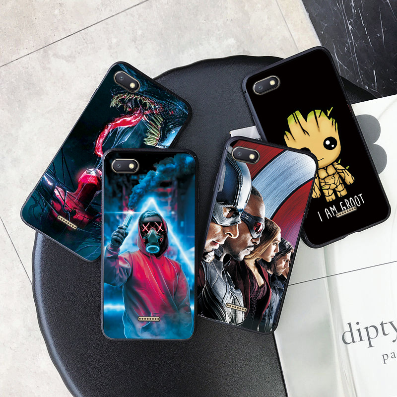Cover For <font><b>Xiaomi</b></font> <font><b>Redmi</b></font> <font><b>6A</b></font> Case Hero Marvel Phone Case For <font><b>Xiaomi</b></font> <font><b>Redmi</b></font> 4A 5A <font><b>6A</b></font> 7A 8A Black TPU Cover For <font><b>Redmi</b></font> 4X 5 6 7 8 Cases image