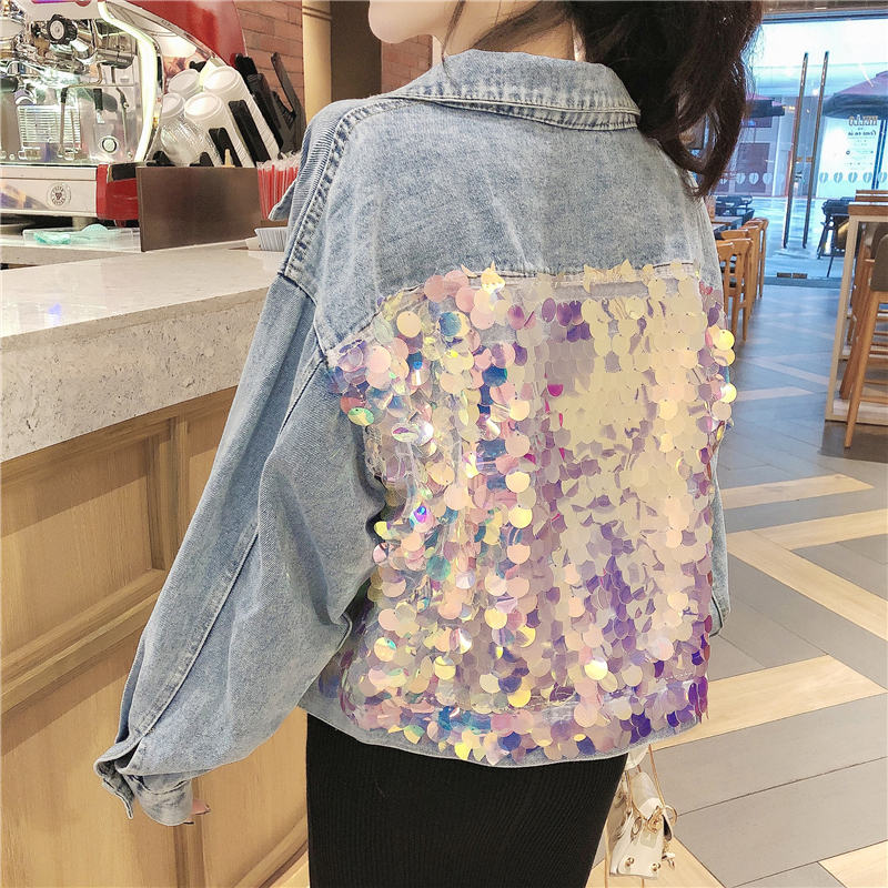Spring Autumn Sequined Denim Paillette Cowboy Loose Coat High Waist Bomber Jeans Basic Women Harajuku Jean Outerwear Coats