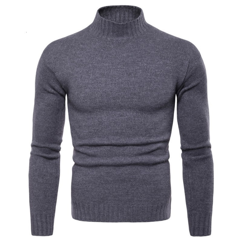 2020 New Winter Warm Man Casual Sweater Fashion Solid Men Turtleneck Pullover Sweaters Slim Fit Male Knitted Sweater Plus Size