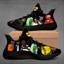 Sapatilhas personalizadas rez preto wu tang clã sapatos para mulher zapatos hombre v2 350 sapatos para homem