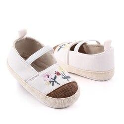 Дышащие Нескользящие Повседневные кроссовки с цветочным принтом и вышивкой; прогулочная обувь на мягкой подошве для малышей; повседневная ...