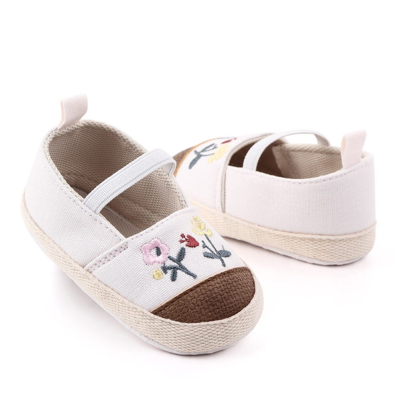 Breathable Embroidery Flower Print Anti Slip Casual Sneakers Toddler Soft Soled Walking Shoes Soft Sole Casual Baby Shoes