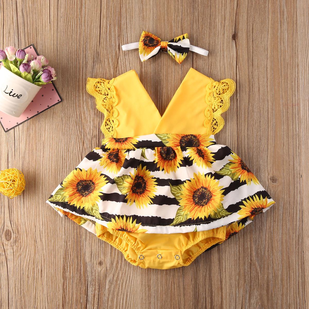 יילוד תינוק בגדי ילדה תחרה לפרוע חמניות הדפסת Romper סרט 2Pcs קיץ ללא שרוולים תלבושות חליפת קיץ עבור 0-24Months