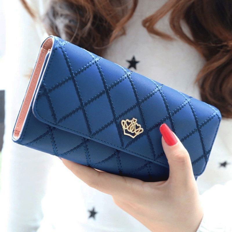 Women Lady Clutch Leather Plaid Hasp Wallet Long Length Card Holder Phone Bag Case Purse