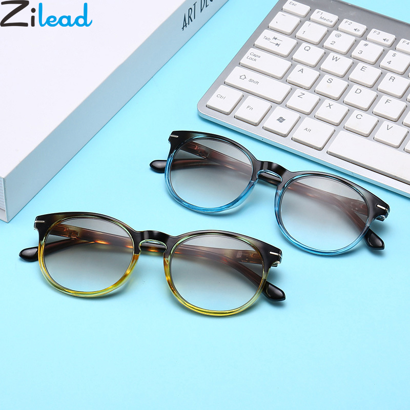 Zilead Resin Reading Glasses Round Double Brown Lens Prebyopia Spectacles For Men Women Hyperopia Eyeglasses Eyewear Unisex