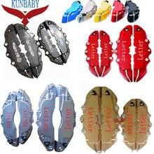 Kunbaby 8 cores abs plástico carro auto 3d estilo palavra disco pinça de freio cobre dianteiro e traseiro tamanho m + s 4 pçs