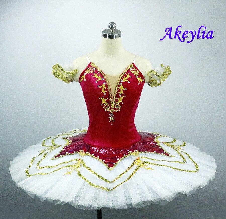 Rose Red Professional Tutu Ballet  Nutcracker tutu Christmas Stage Cosutmes Tutus Girls dark Pink Fairy Classical Pancake Tutu