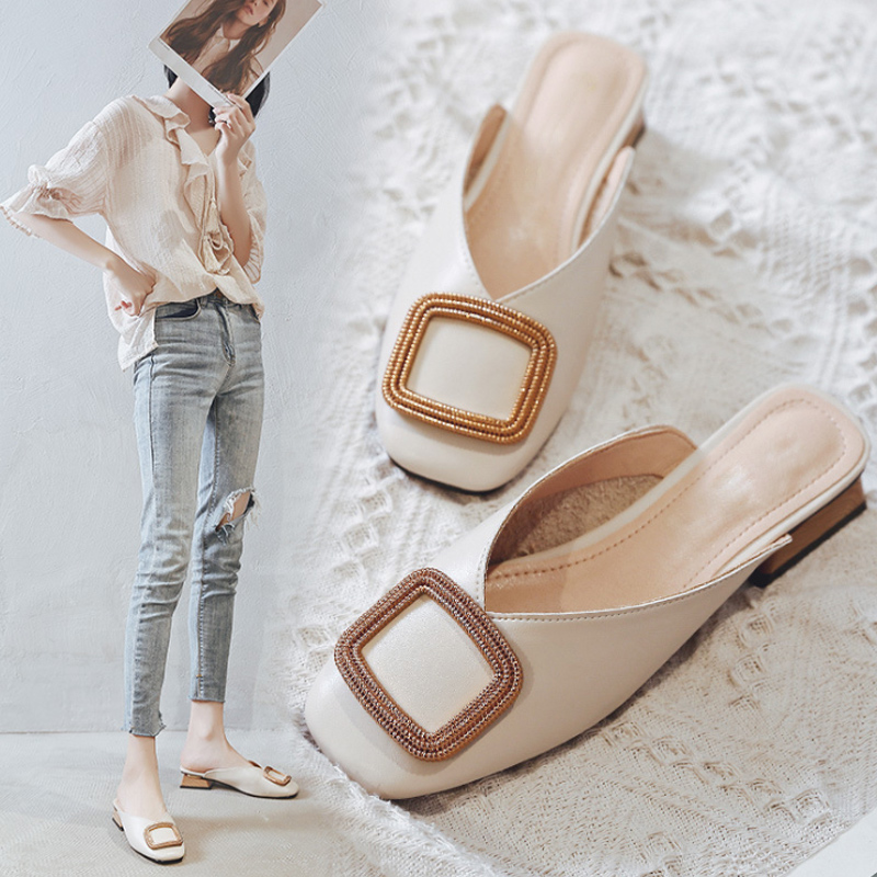 Women Square Toe Slippers Woman Wood Low Heels Mules Women's Slip On British Shoes Ladies Fashion Metal Pump Plus Size 43