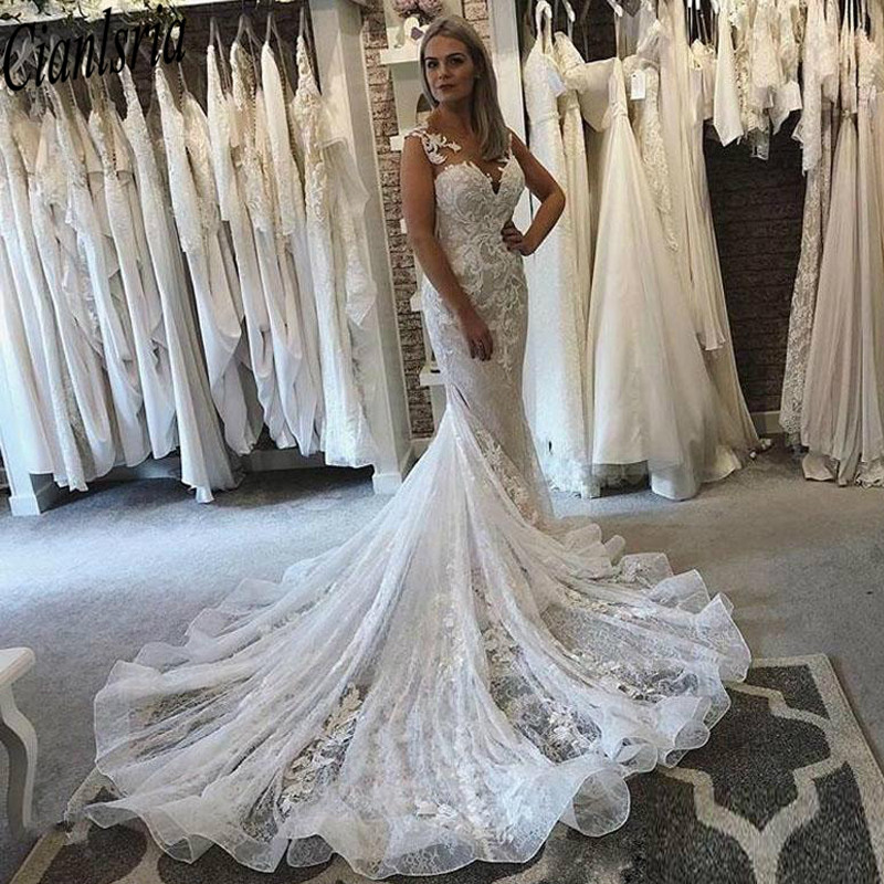 Slim Mermaid Wedding Dresses Sheer Neck Lace Appliques Bridal Gowns Illusion Button Back Sweep Train Wedding Dress