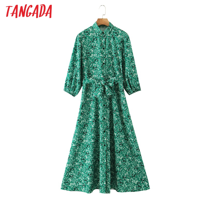 Tangada 2020 autumn women green flowers print dress three quarter sleeve ladies midi dress with slash 3Z108
