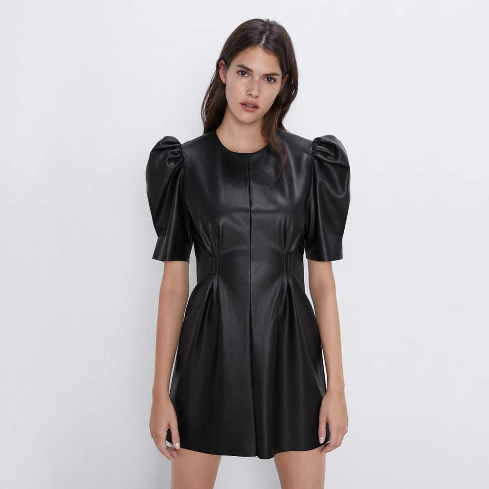 새로운 2019 za 여성 드레스 블랙 미니 드레스 라운드 칼라 짧은 소매 가죽 드레스 유행 기질 다크 지퍼 클로저 드레스