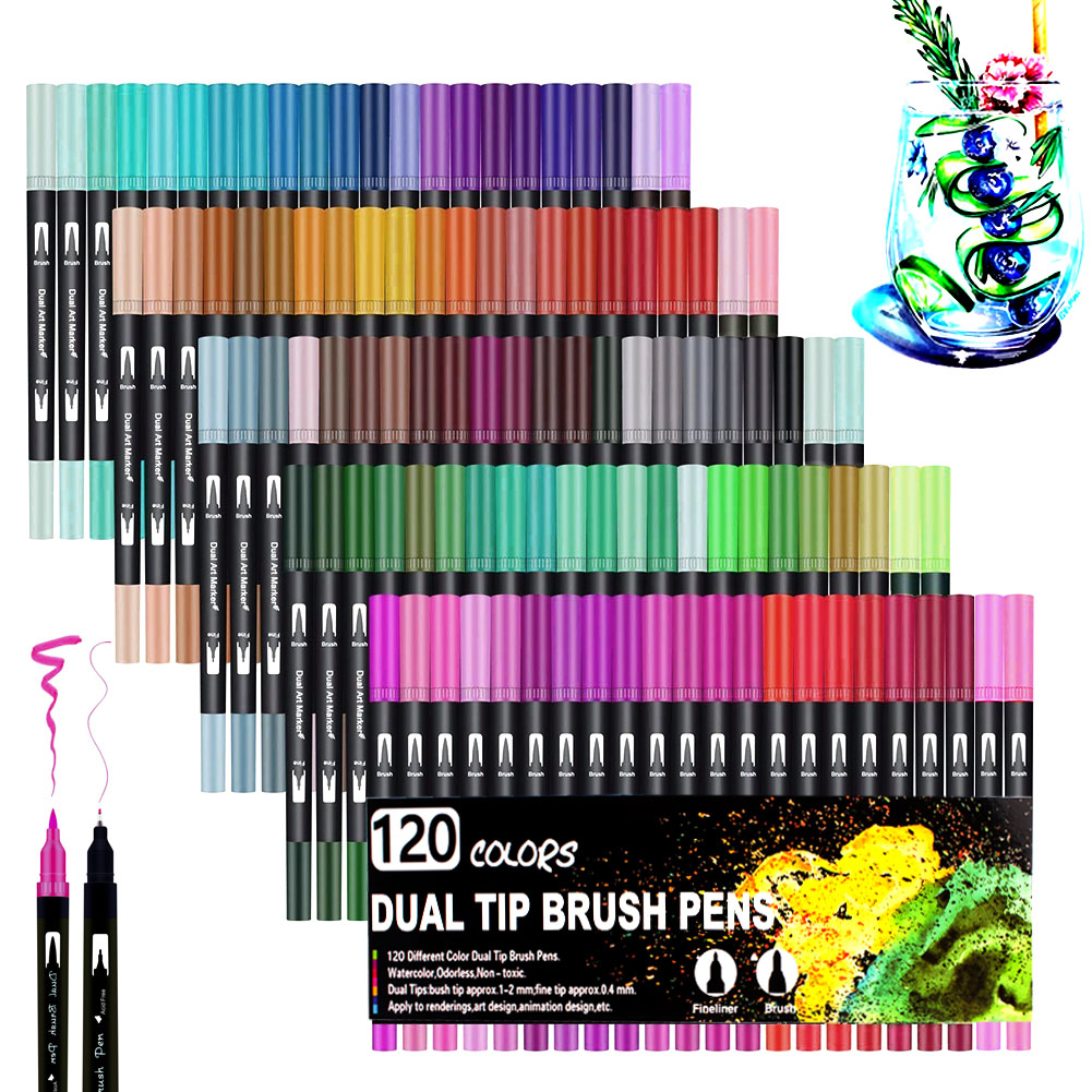 Watercolor Pen Brush Markers Dual Tip Fineliner Drawing For Bullet Journal Art Markers 12 24 36 48 60 72 100 120 Colors Pens