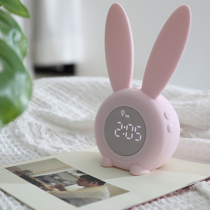 Cartoon Animal Rabbit Night Light Children's Novel Gift Led Night Light Bedroom Bedside Lamp Alarm Clock Dimming Night Light