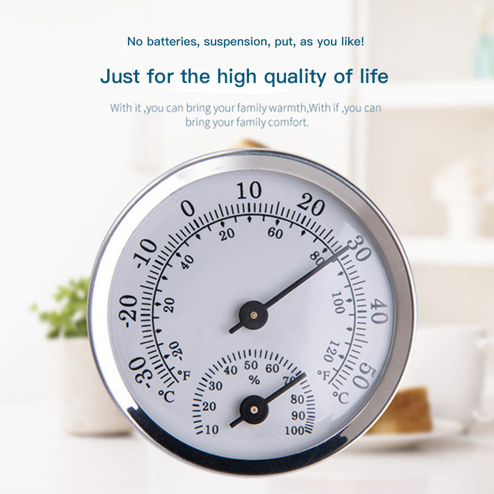 Mini 58mm Thermometer & Hygrometer Alloy Aluminum Temperature Humidity Meter For Household Indoor Sauna Room High Quality