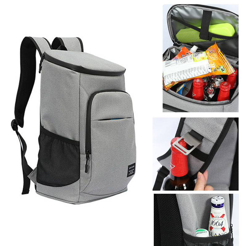 DENUONISS Brand Gray Thermal Backpack 35 Cans 100% Leakproof Cooler Backpack 600D Oxford Waterproof Thermal Insulated Bag image