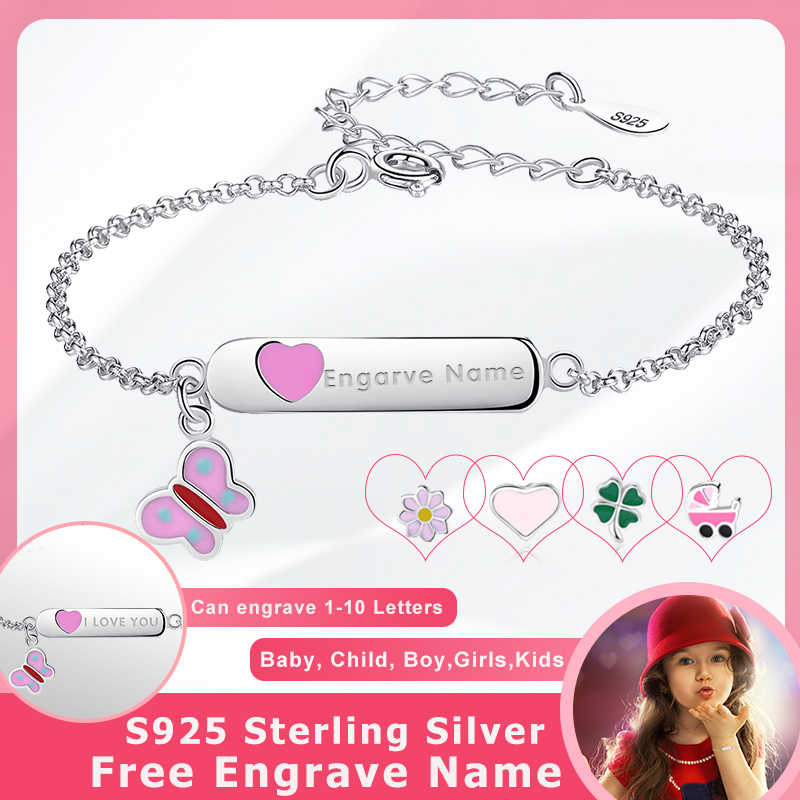 BELAWANG 925 Sterling Silver Butterfly Heart Charm Bracelet Engrave Name Customized Bracelet Girls Children Personalized Jewelry