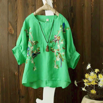 Blouse Plus size Women Tops Loose Embroidered Blouse Shirt Vintage Batwing sleeve Cotton Casual 4
