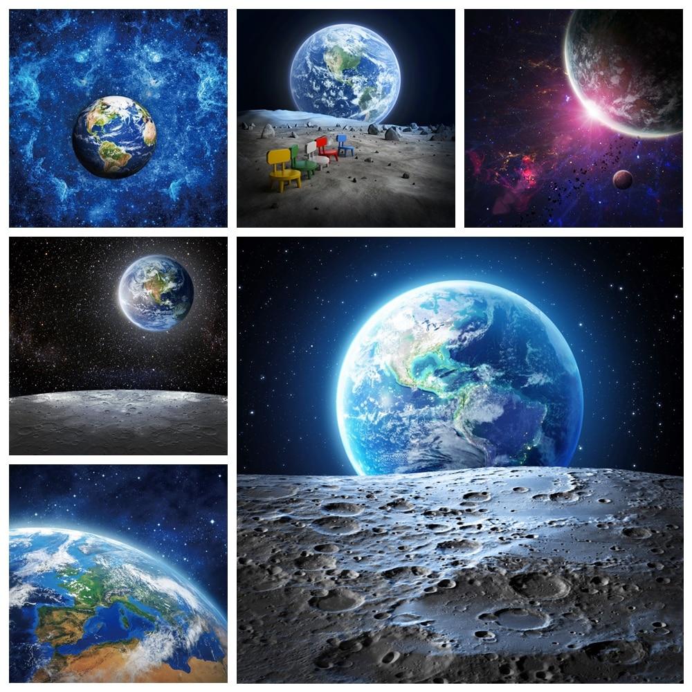 Laeacco день рождения Фото фоны Вселенная Космос земля Луна планета маленький астронавт новорожденный фото фоны фотостудия